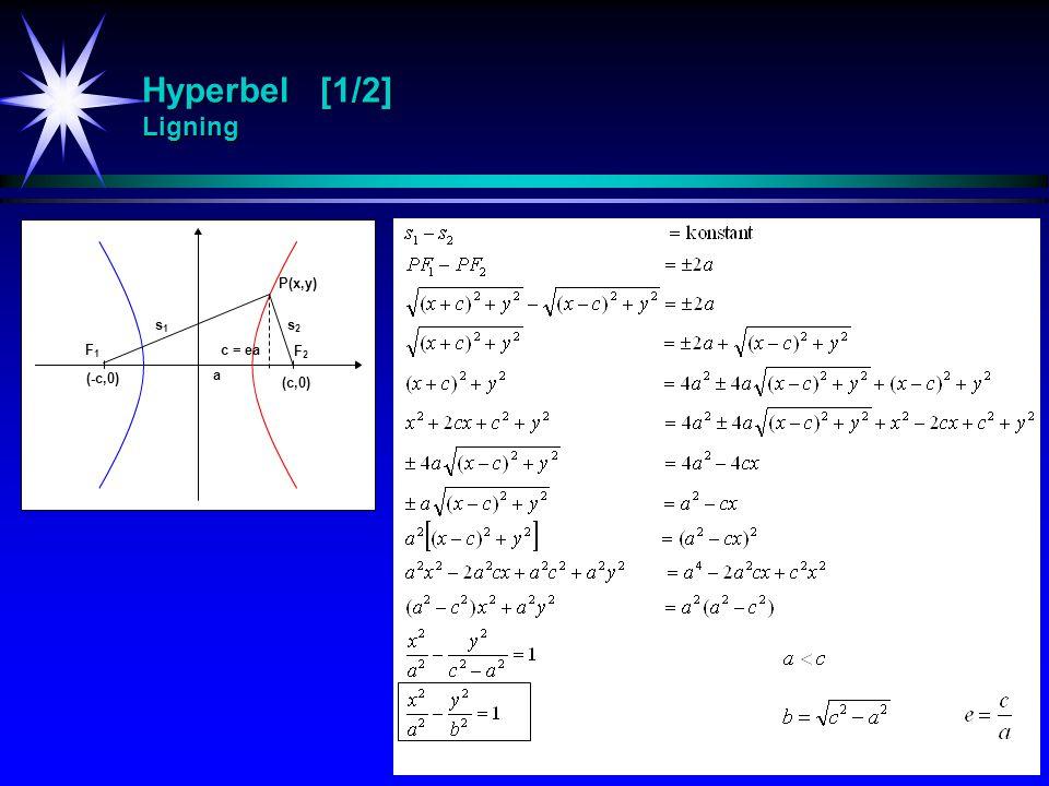Hyperbel [1/2] Ligning P(x,y) s1 s2 F1 c = ea F2 (-c,0) a (c,0)